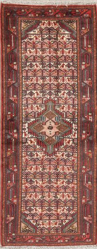 Tribal Geometric Ivory Hamedan Persian Hand-Knotted Runner Rug Wool 3x7