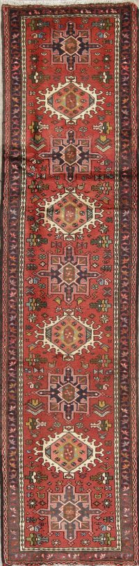 Geometric Red Gharajeh Persian Hand-Knotted Runner Rug Wool 2x10