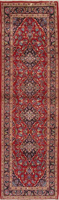 Floral Red Kashan Persian Hand-Knotted Runner Rug Wool 3x9