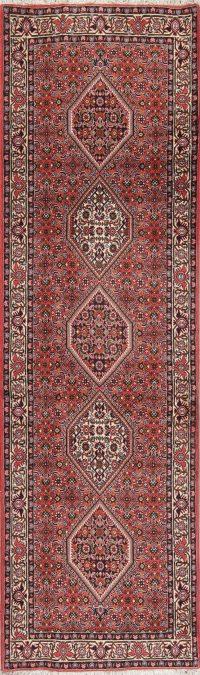 Geometric Red Bidjar Persian Hand-Knotted Runner Rug Wool 3x9