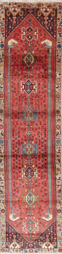 Geometric Red Abadeh Persian Hand-Knotted Runner Rug Wool 2x10