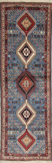 Vegetable Dye Light Blue Yalameh Persian Oriental Runner Rug Wool 3x7