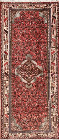 Geometric Red Hamedan Persian Hand-Knotted Runner Rug Wool 3x6