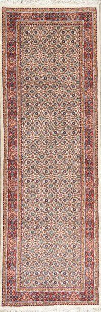 Geometric Ivory Bidjar Persian Hand-Knotted Runner Rug Wool 3x8