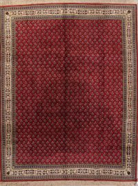All-Over Geometric Red Sarouk Indian Oriental Hand-Knotted Area Rug Wool 9x12