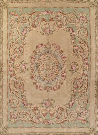 Transitional Floral Brown Savanneri Chinese Oriental Area Rug Wool 10x14