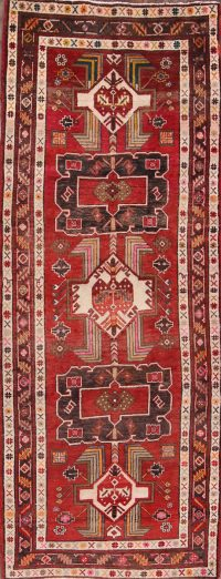 Red Geometric Ardebil Persian Runner Rug 4x10