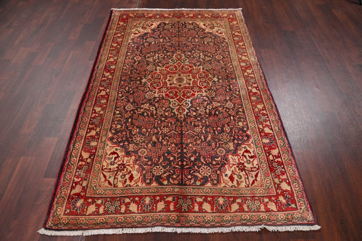 Hand-Knotted Floral Dark Charcoal Sarouk Persian Area Rug Wool 4x7