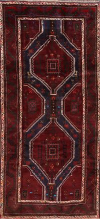 Geometric Red Balouch Persian Hnad-Knotted Runner Rug Wool 4x8