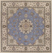Traditional Floral Light Blue Square 12x12 Oushak Oriental Area Rug