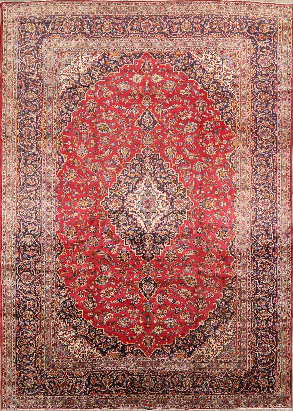 Floral Red 10x13 Kashan Persian Area Rug