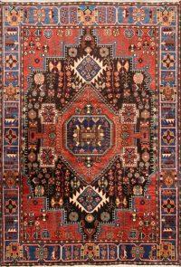 Geometric Black Nahavand Hamedan Persian Hand-Knotted Area Rug Wool 5x7