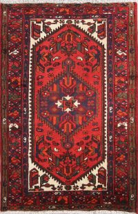 Geometric 3x5 Hamedan Persian Tribal Red Rug