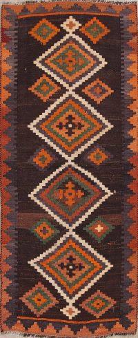 Hand-Woven Geometric Tribal Kilim Shiraz Persian Runner Rug 3x7