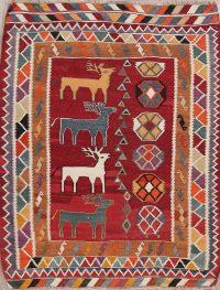 Animal Pictorial Kilim Shiraz Persian Area Rug 6x7