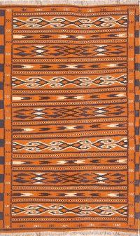 Geometric Rust Kilim Qashqai Persian Hand-Woven Area Rug Wool 4x6