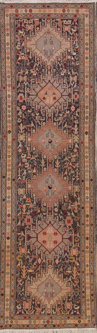 Black Tribal Geometric Sumak Kilim Persian Runner Rug 3x9
