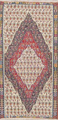 Geometric Tribal Senneh Kilim Persian Area Rug 5x9