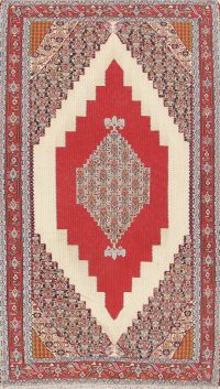 Vegetable Dye Wool Senneh Kilim Persian Area Rug 5x8