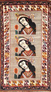 Pictorial Gabbeh Shiraz Persian Area Rug 4x7