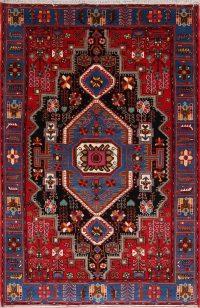Geometric Red Navahand Hamedan Persian Hand-Knotted Area Rug Kork Wool 5x7