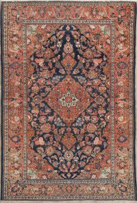 Pre-1900 Navy Blue Floral Kashan Dabir Antique Persian Rug 4x7