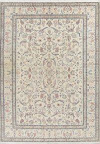675 Knots Nain Isfahan Persian Ivory Area Rug 8x11
