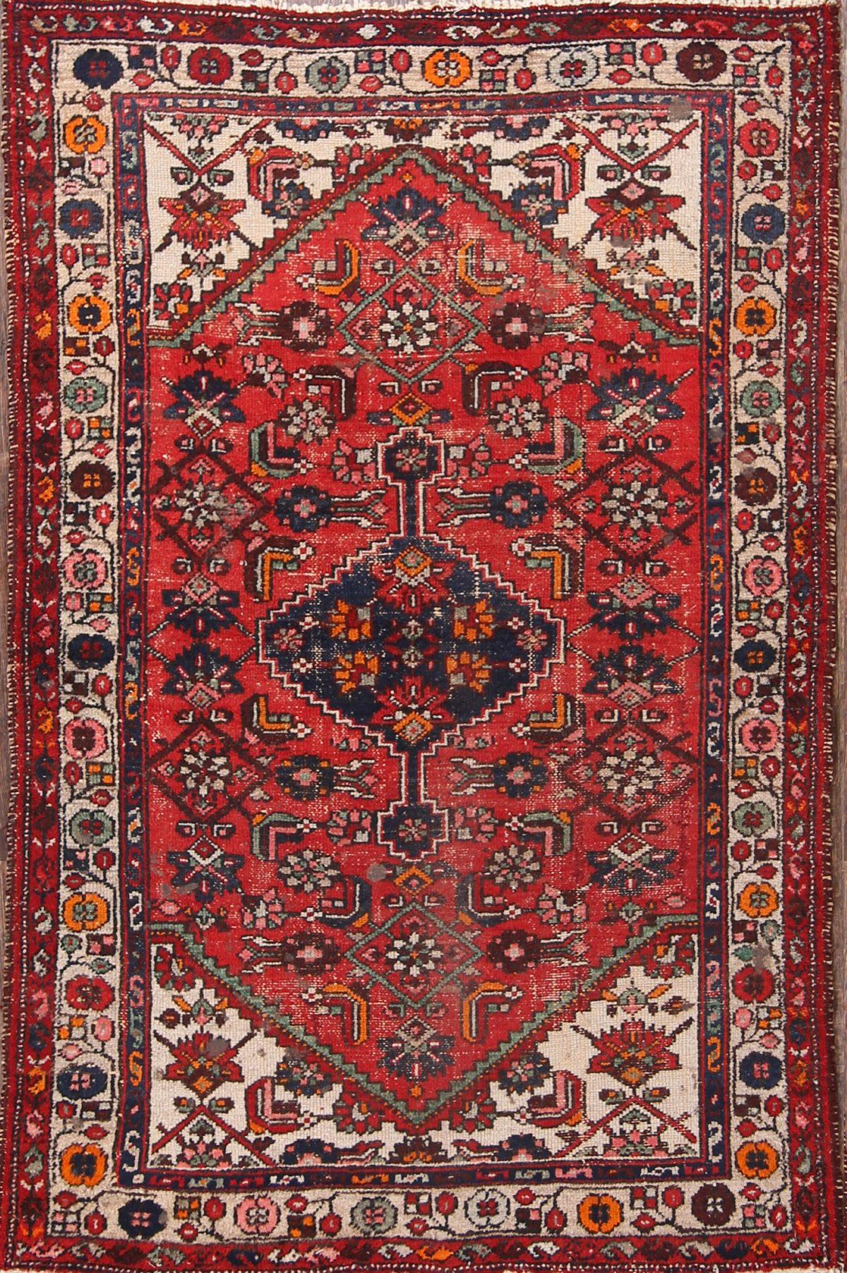 Geometric Hamedan Persian Area Rug 4x6