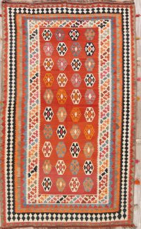 Red Geometric Kilim Shiraz Persian Runner Rug 5x9
