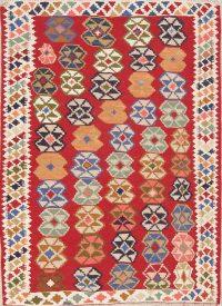 Red Geometric Kilim Shiraz Persian Area Rug 4x6