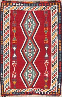 Red Geometric Kilim Shiraz Persian Area Rug 5x7