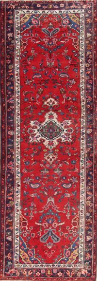 Floral Red Hamedan Persian Hand-Knotted Runner Rug Wool 3x10