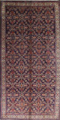 Purple Geometric Sarouk Persian Runner Rug 6x11