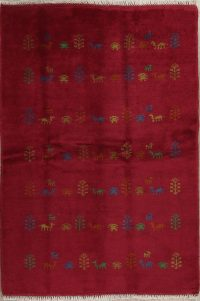 Red Tribal Gabbeh Shiraz Persian Area Rug 4x7