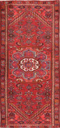 Geometric Hamedan Persian Runner Rug Wool 3x6