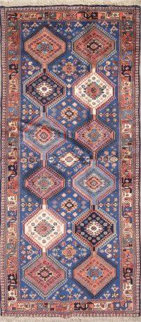 Blue Geometric Yalameh Persian Runner Rug 3x6