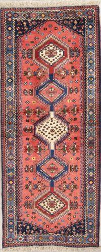 Coral Geometric Yalameh Persian Runner Rug 3x7