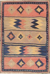 Hand-Woven Geometric Kilim Shiraz Persian Wool Rug 3x5