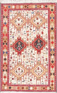 Wool/Silk Tribal Kilim Qashqai Persian Area Rug 4x6
