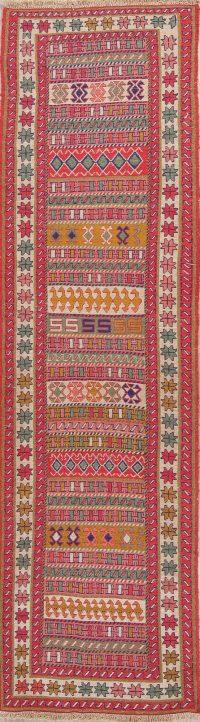 Hand-Woven Geometric Kilim Shiraz Persian Runner Rug Wool 3x10