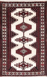 Hand-Knotted Ivory Geometric Bokhara Oriental Wool Rug 3x5