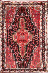 Hand-Knotted Black Tribal Zanjan Persian Wool Rug 3x5