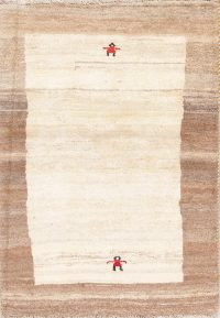 Hand-Knotted Ivory Gabbeh Shiraz Persian Wool Rug 3x5