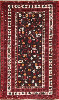 Hand-Knotted Black Geometric Balouch Oriental Area Rug Wool 3x6
