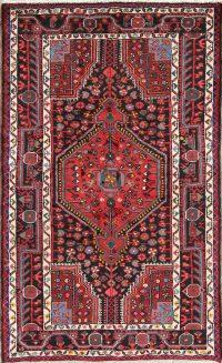 Hand-Knotted Black Tribal Geometric Zanjan Persian Wool Rug 3x5