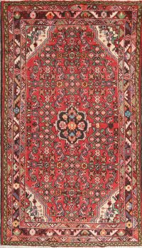 Hand-Knotted Red Geometric Hamedan Persian Area Rug Wool 4x7