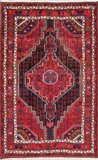 Hand-Knotted Geometric Hamedan Persian Area Rug Wool 4x6
