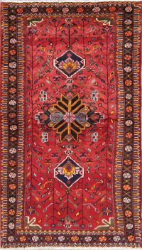 Hand-Knotted Red Tribal Geometric Hamedan Persian Runner Rug Wool 3x6