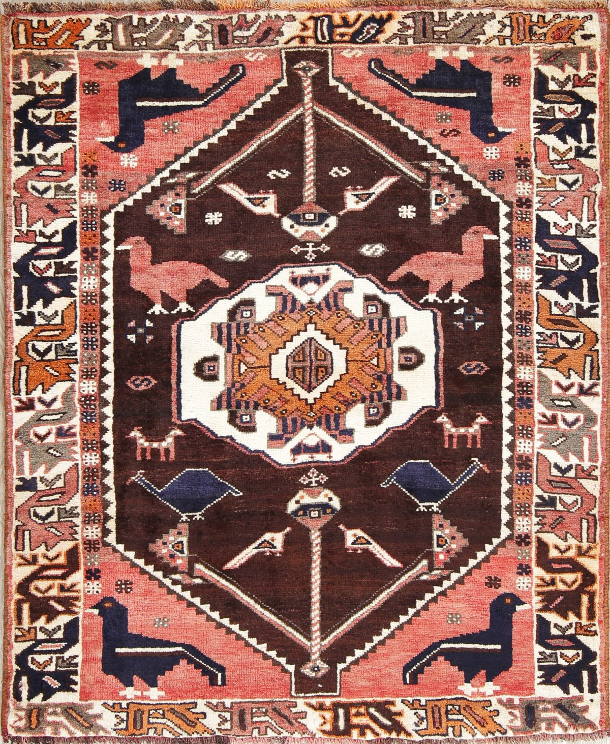 Hand-Knotted Brown Animal Pictorial Tribal Lori Persian Area Rug Wool 4x5