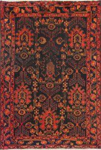 Hand-Knotted Black Geometric Nanaj Persian Area Rug Wool 4x5